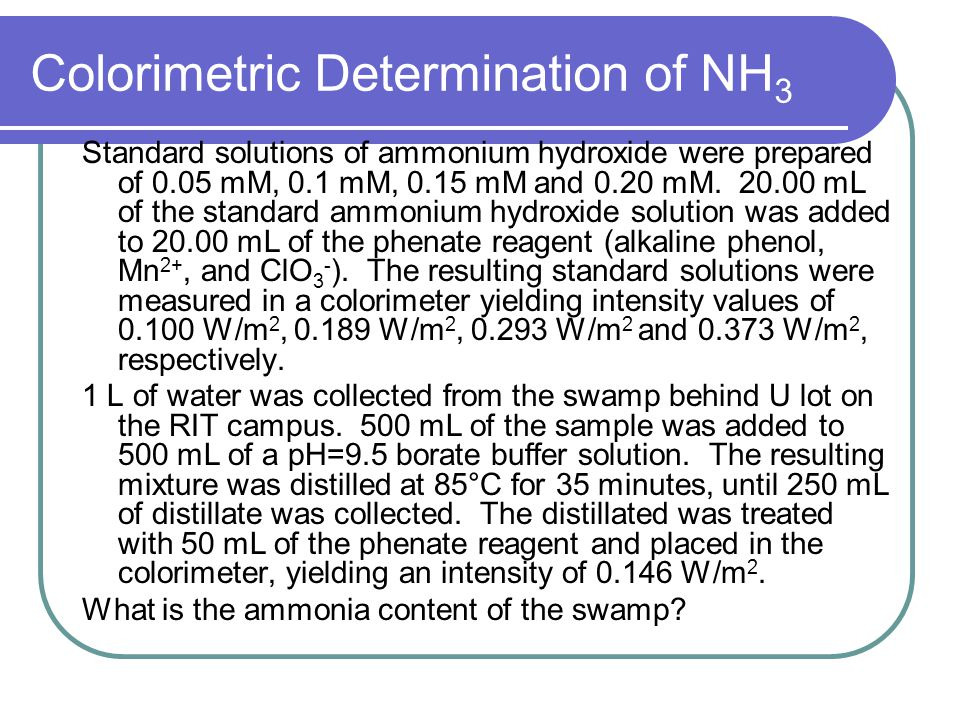 Colorimetric Determination of NH 3 Standard solutions of ammonium hydroxide were prepared of 0.05 mM, 0.1 mM, 0.15 mM and 0.20 mM.