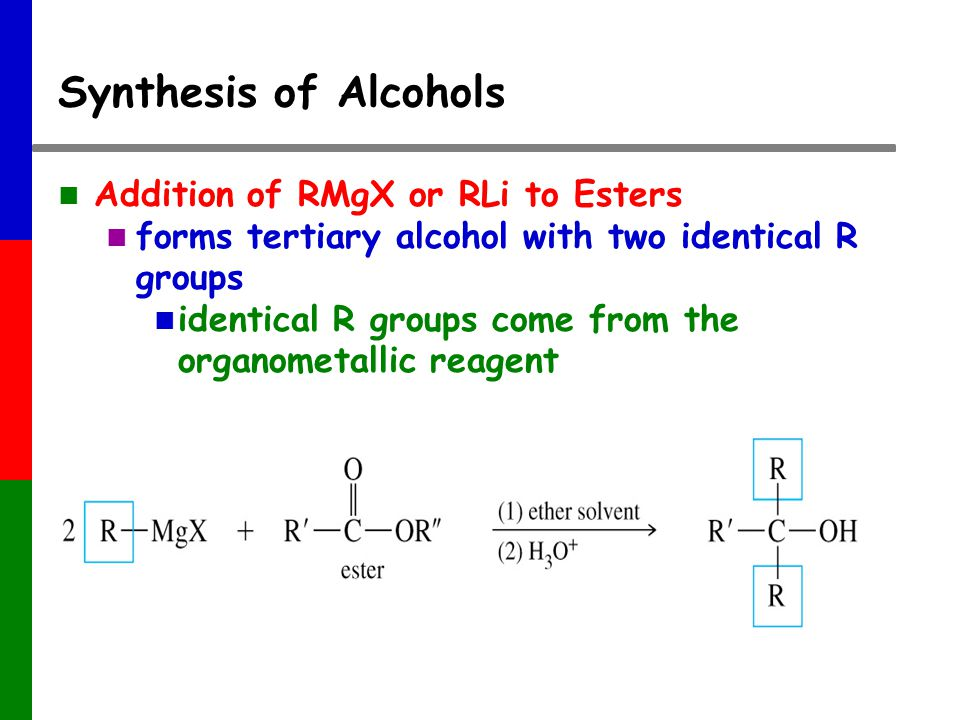 Synthesis of Alcohols Addition of RMgX or RLi to Esters forms tertiary alcohol with two identical R groups identical R groups come from the organometallic reagent