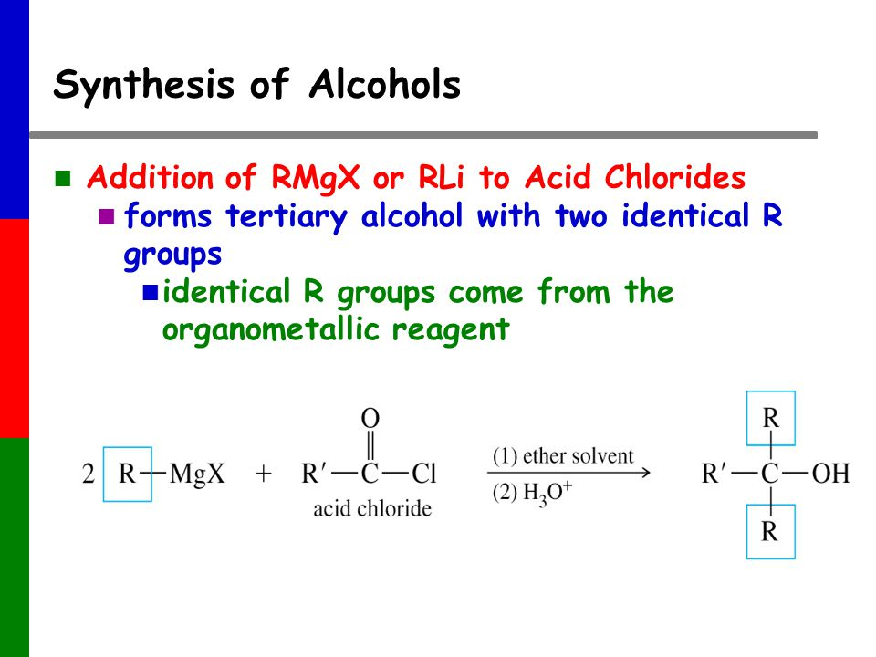 Synthesis of Alcohols Addition of RMgX or RLi to Acid Chlorides forms tertiary alcohol with two identical R groups identical R groups come from the organometallic reagent