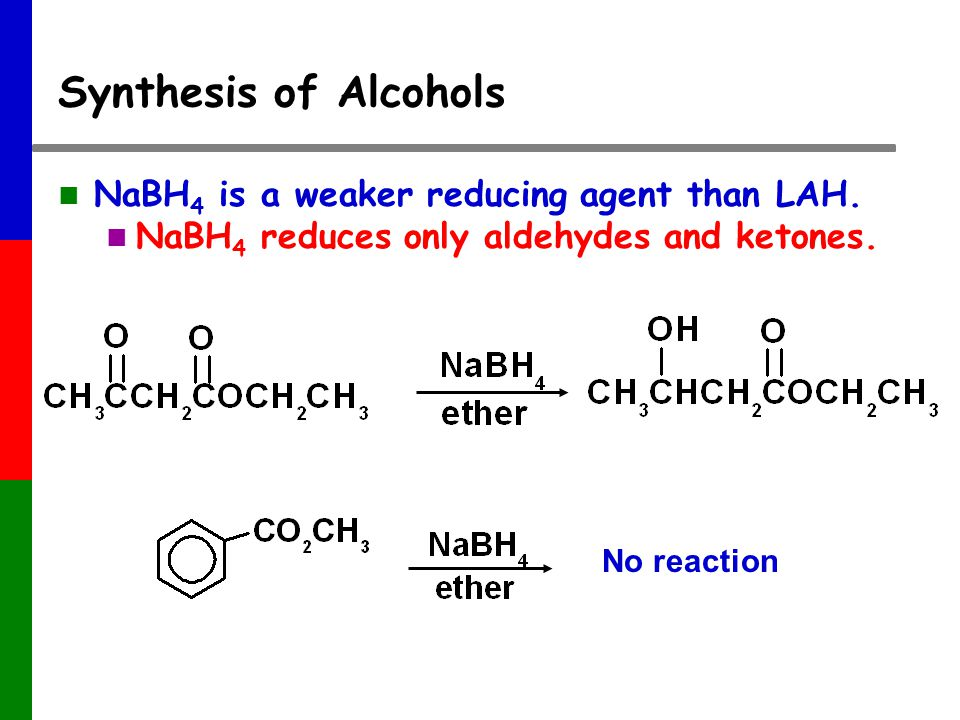 Synthesis of Alcohols NaBH 4 is a weaker reducing agent than LAH.