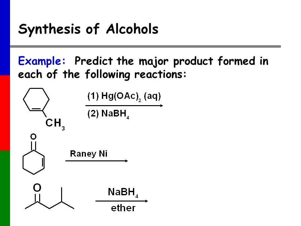 Synthesis of Alcohols Example: Predict the major product formed in each of the following reactions: