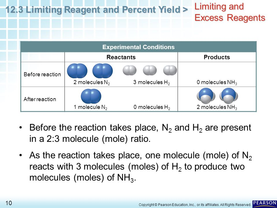 12.3 Limiting Reagent and Percent Yield > 10 Copyright © Pearson Education, Inc., or its affiliates. All Rights Reserved. Limiting and Excess Reagents