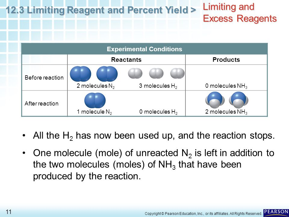 12.3 Limiting Reagent and Percent Yield > 11 Copyright © Pearson Education, Inc., or its affiliates. All Rights Reserved. Limiting and Excess Reagents