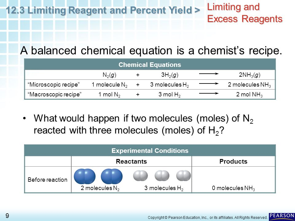 12.3 Limiting Reagent and Percent Yield > 9 Copyright © Pearson Education, Inc., or its affiliates. All Rights Reserved. Limiting and Excess Reagents
