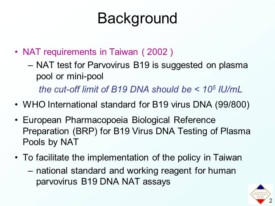2 NAT requirements in Taiwan ( 2002 ) –NAT test for Parvovirus B19 is suggested on plasma pool or mini-pool the cut-off limit of B19 DNA should be < 10 5 IU/mL WHO International standard for B19 virus DNA (99/800) European Pharmacopoeia Biological Reference Preparation (BRP) for B19 Virus DNA Testing of Plasma Pools by NAT To facilitate the implementation of the policy in Taiwan –national standard and working reagent for human parvovirus B19 DNA NAT assays Background