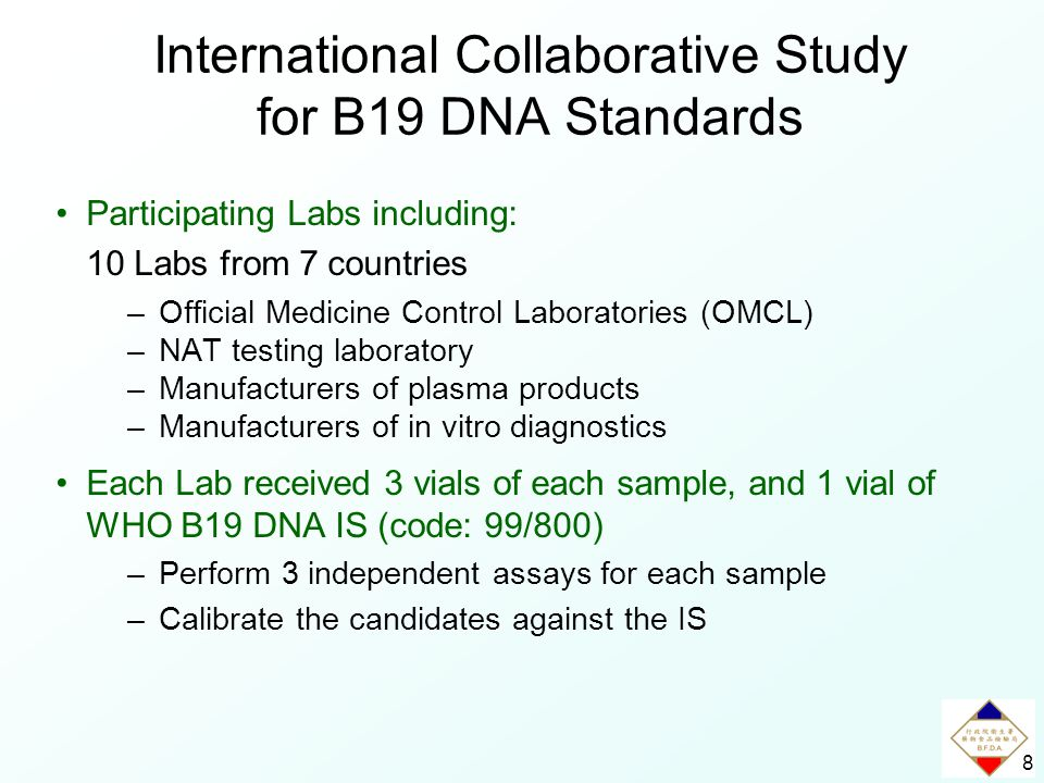8 International Collaborative Study for B19 DNA Standards Participating Labs including: 10 Labs from 7 countries –Official Medicine Control Laboratories (OMCL) –NAT testing laboratory –Manufacturers of plasma products –Manufacturers of in vitro diagnostics Each Lab received 3 vials of each sample, and 1 vial of WHO B19 DNA IS (code: 99/800) –Perform 3 independent assays for each sample –Calibrate the candidates against the IS