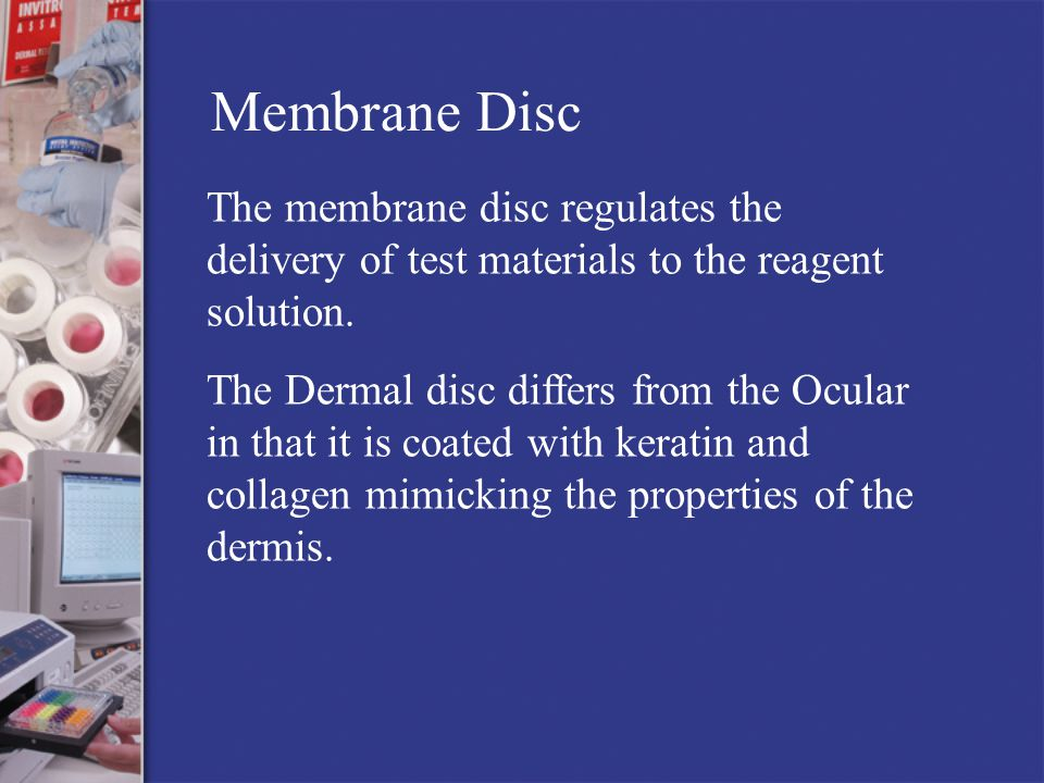 Membrane Disc The membrane disc regulates the delivery of test materials to the reagent solution.