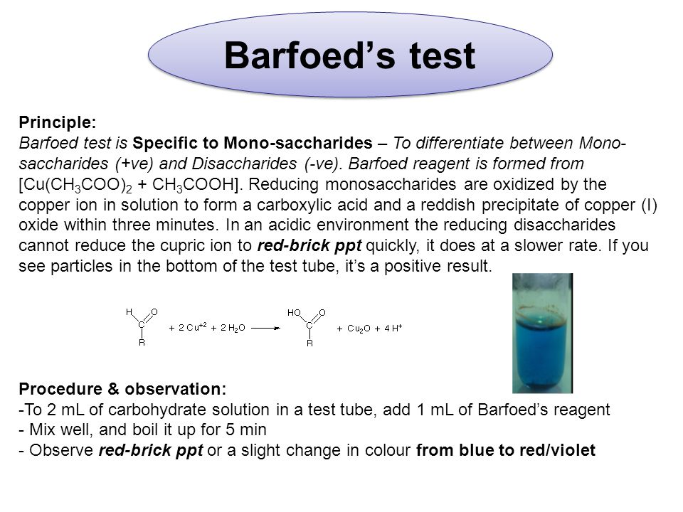 Barfoed's test Principle: Barfoed test is Specific to Mono-saccharides – To differentiate between Mono- saccharides (+ve) and Disaccharides (-ve).