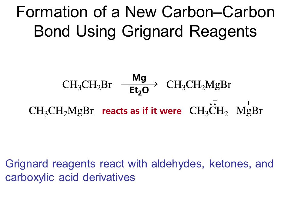 Formation of a New Carbon–Carbon Bond Using Grignard Reagents Grignard reagents react with aldehydes, ketones, and carboxylic acid derivatives