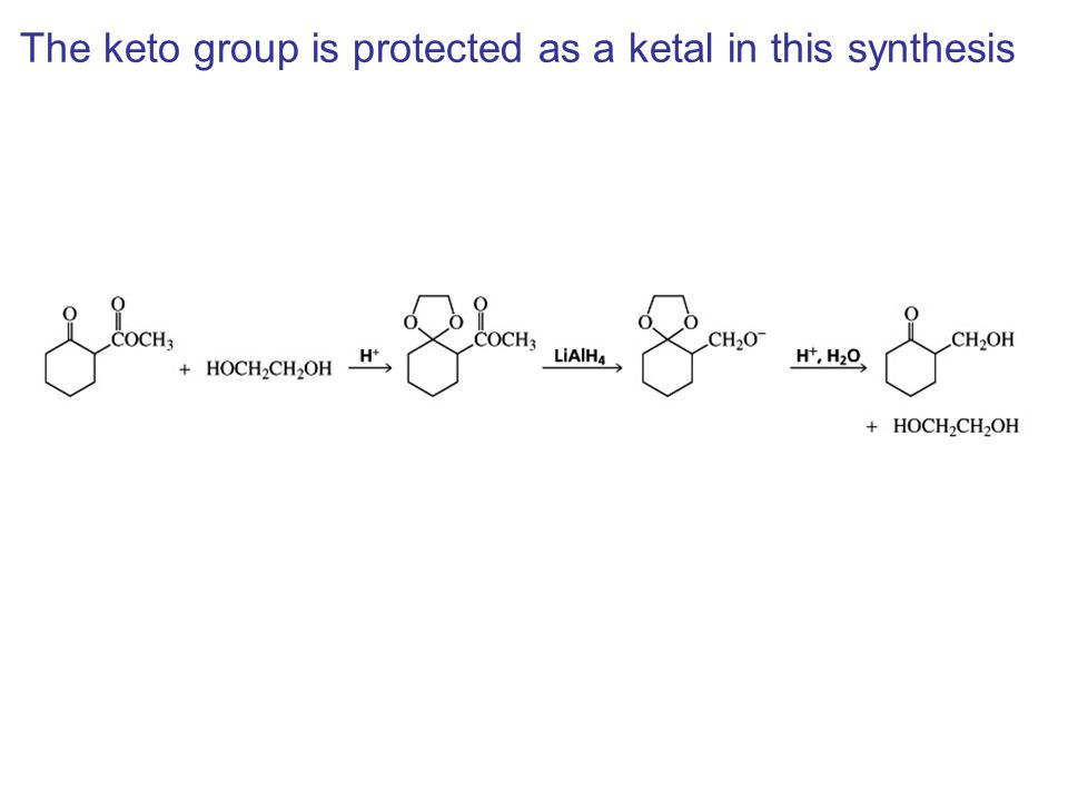 The keto group is protected as a ketal in this synthesis