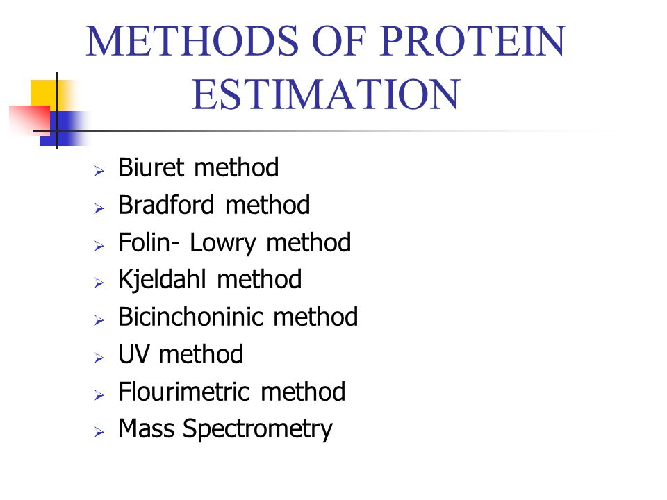 METHODS OF PROTEIN ESTIMATION  Biuret method  Bradford method  Folin- Lowry method  Kjeldahl method  Bicinchoninic method  UV method  Flourimet