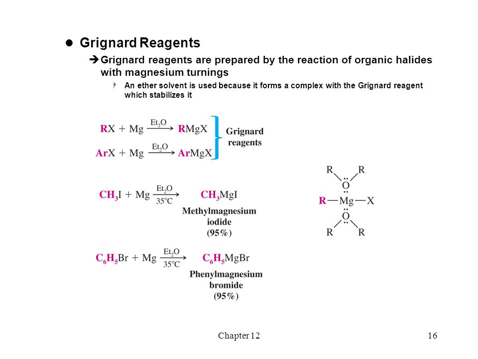Chapter 1216 Grignard Reagents  Grignard reagents are prepared by the reaction of organic halides with magnesium turnings  An ether solvent is used