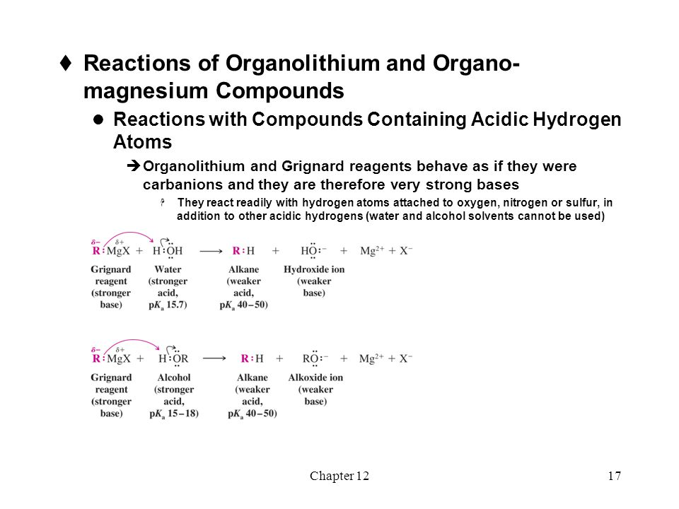 Chapter 1217  Reactions of Organolithium and Organo- magnesium Compounds Reactions with Compounds Containing Acidic Hydrogen Atoms  Organolithium an