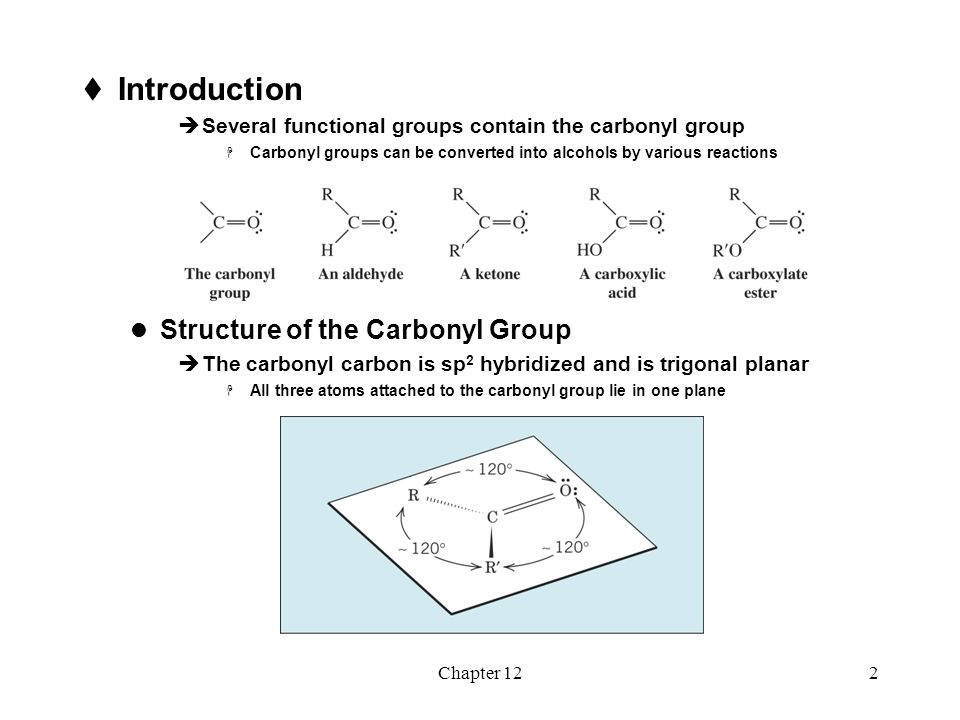 Chapter 122  Introduction  Several functional groups contain the carbonyl group  Carbonyl groups can be converted into alcohols by various reaction