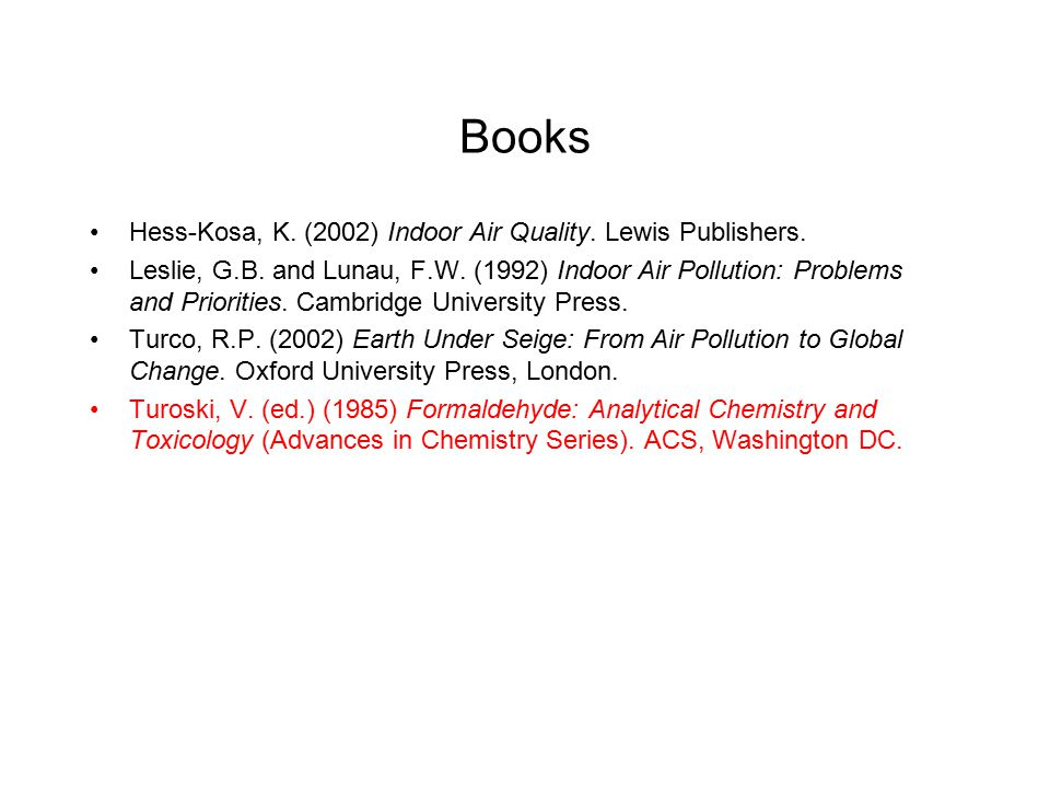 Books Hess-Kosa, K. (2002) Indoor Air Quality. Lewis Publishers. Leslie, G.B. and Lunau, F.W. (1992) Indoor Air Pollution: Problems and Priorities. Ca