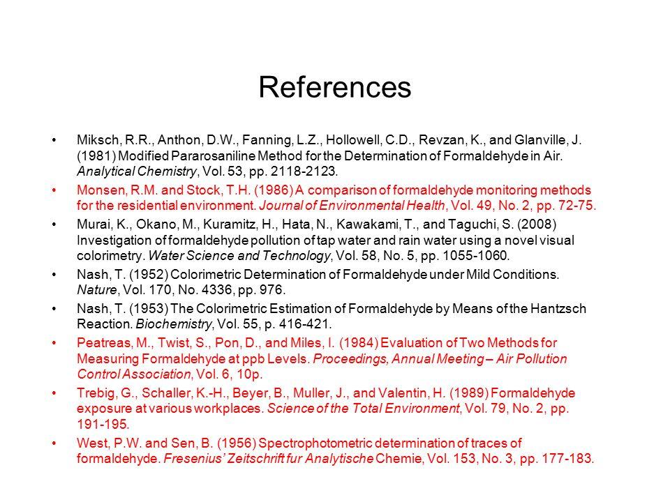 References Miksch, R.R., Anthon, D.W., Fanning, L.Z., Hollowell, C.D., Revzan, K., and Glanville, J. (1981) Modified Pararosaniline Method for the Det
