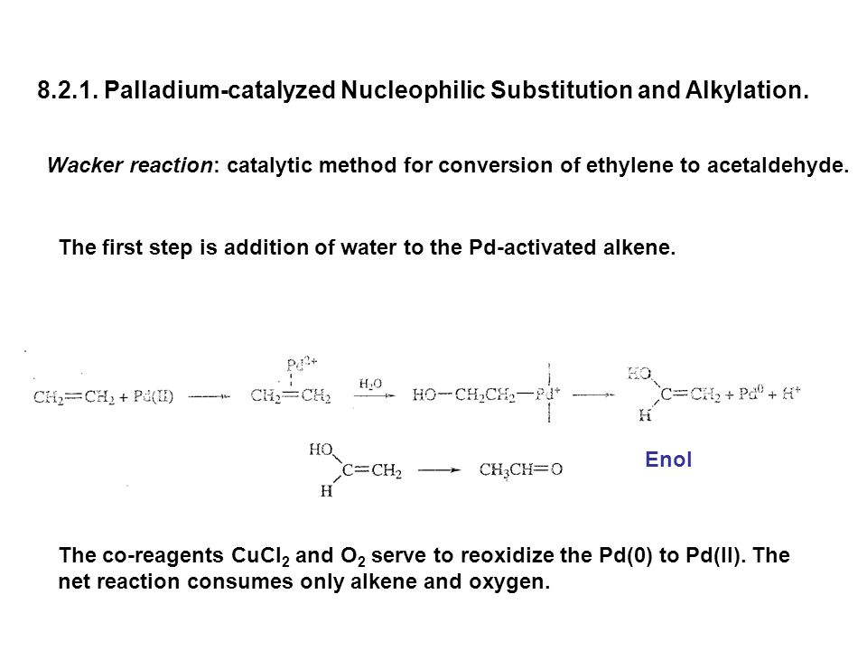 8.2.1. Palladium-catalyzed Nucleophilic Substitution and Alkylation. Wacker reaction: catalytic method for conversion of ethylene to acetaldehyde. The