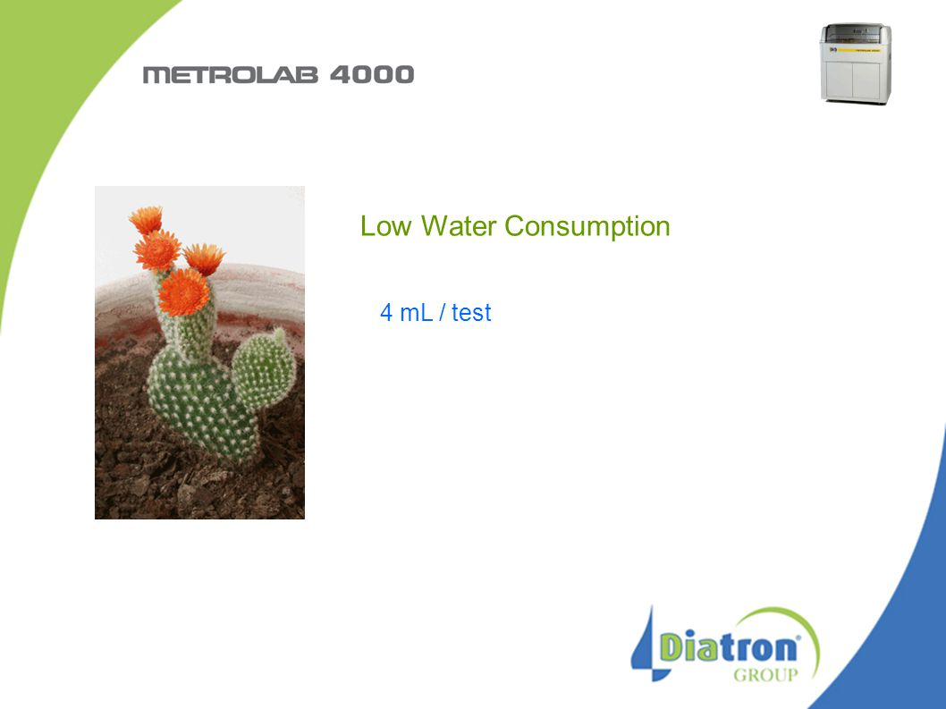 Low Water Consumption 4 mL / test