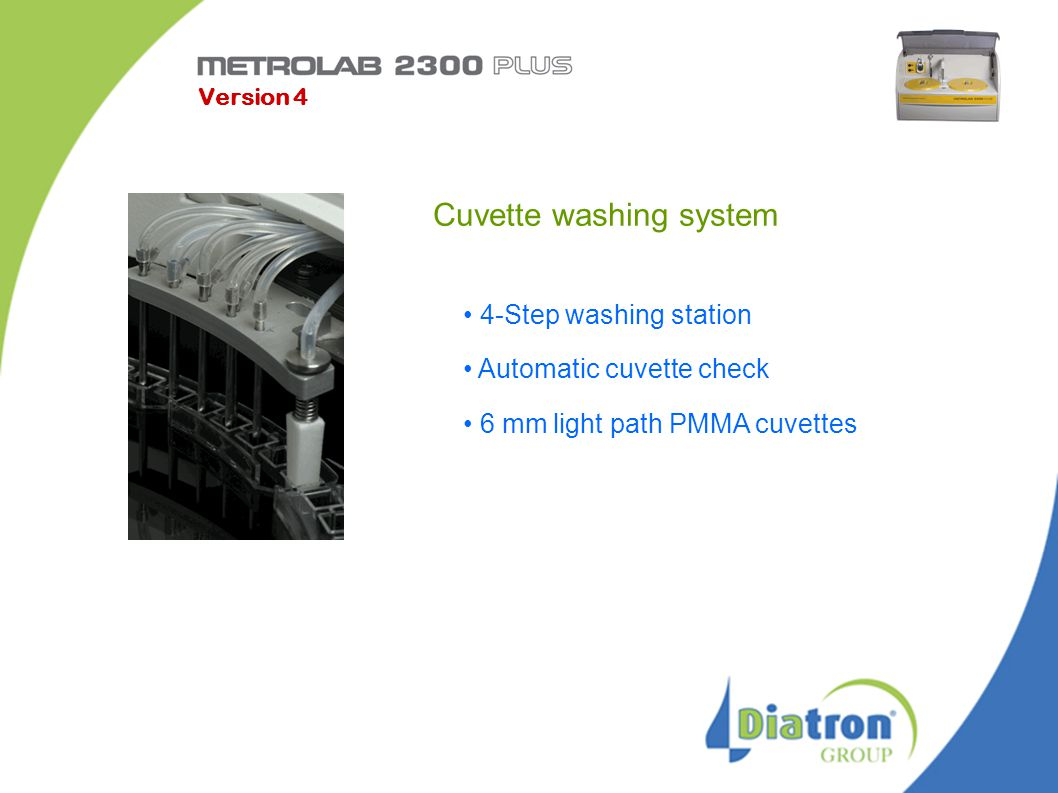 Cuvette washing system 4-Step washing station Automatic cuvette check 6 mm light path PMMA cuvettes Version 4