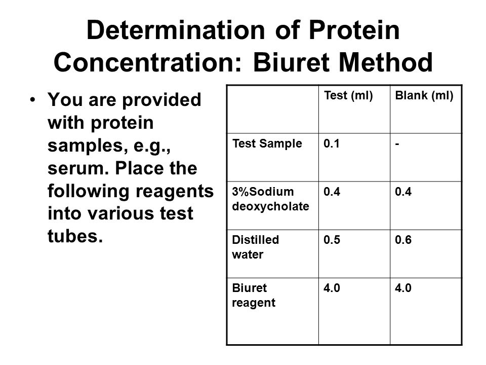 Determination of Protein Concentration: Biuret Method You are provided with protein samples, e.g., serum. Place the following reagents into various te