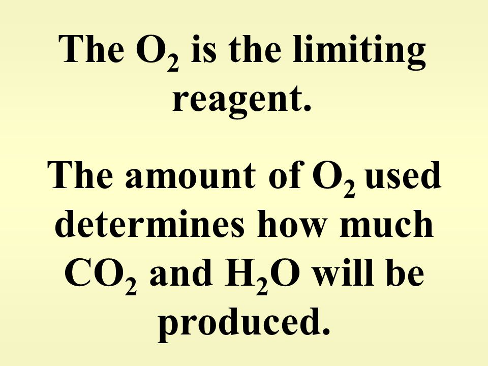The O 2 is the limiting reagent. The amount of O 2 used determines how much CO 2 and H 2 O will be produced.
