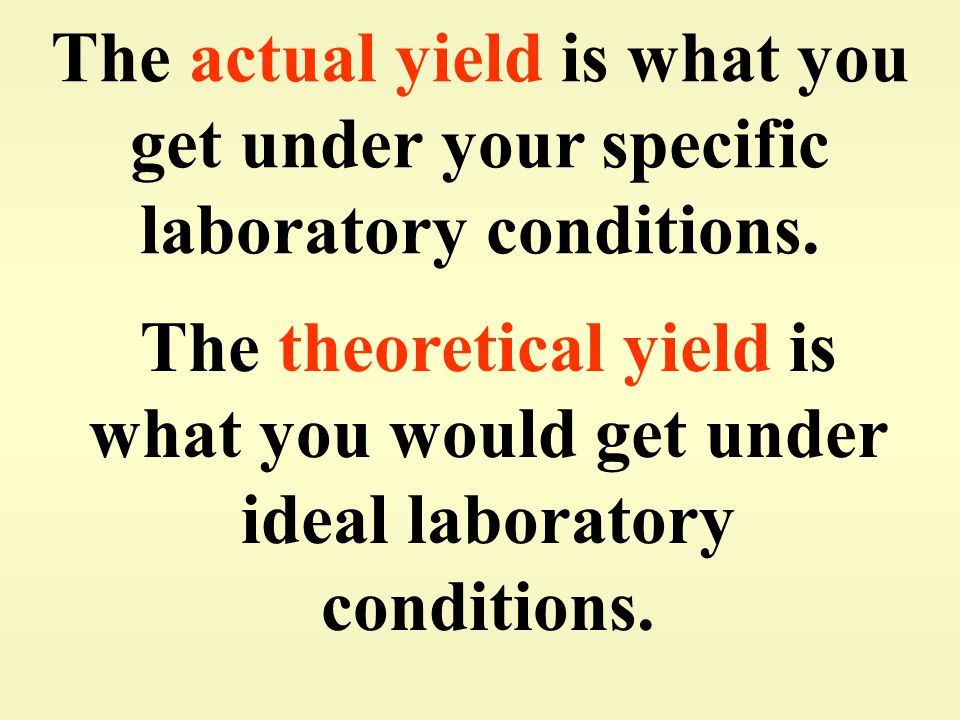 The actual yield is what you get under your specific laboratory conditions.