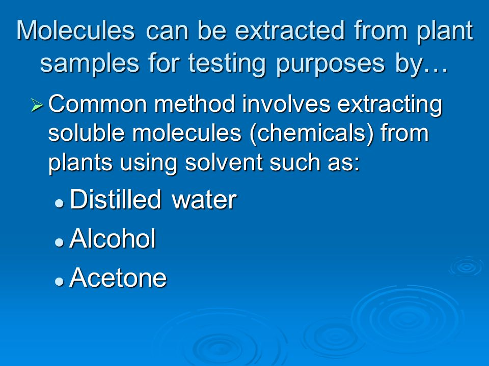 Molecules can be extracted from plant samples for testing purposes by…  Common method involves extracting soluble molecules (chemicals) from plants u