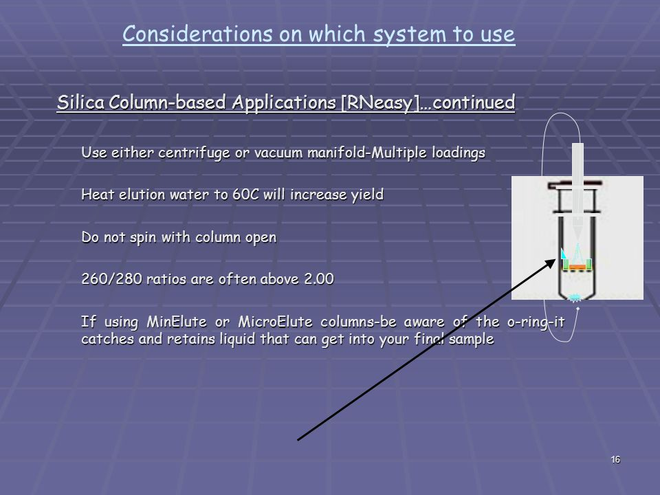 16 Considerations on which system to use Silica Column-based Applications [RNeasy]…continued Use either centrifuge or vacuum manifold-Multiple loadings Heat elution water to 60C will increase yield Do not spin with column open 260/280 ratios are often above 2.00 If using MinElute or MicroElute columns-be aware of the o-ring-it catches and retains liquid that can get into your final sample