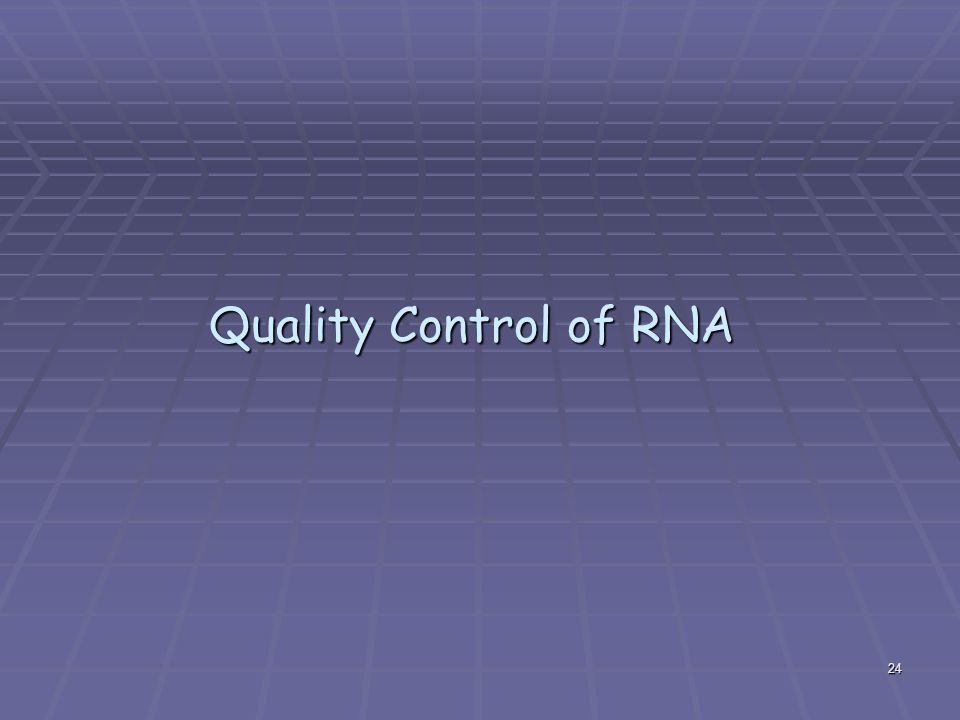 24 Quality Control of RNA