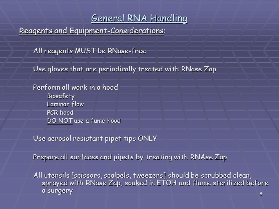 5 General RNA Handling Reagents and Equipment-Considerations: All reagents MUST be RNase-free Use gloves that are periodically treated with RNase Zap Perform all work in a hood Biosafety Laminar flow PCR hood DO NOT use a fume hood Use aerosol resistant pipet tips ONLY Prepare all surfaces and pipets by treating with RNAse Zap All utensils [scissors, scalpels, tweezers] should be scrubbed clean, sprayed with RNase Zap, soaked in ETOH and flame sterilized before a surgery