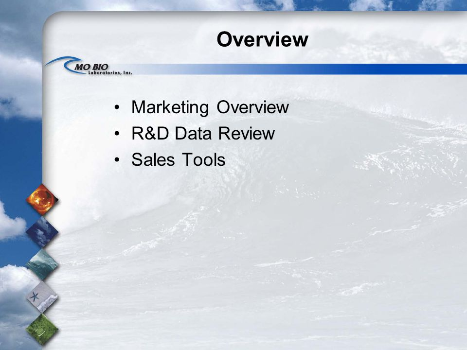 Overview Marketing Overview R&D Data Review Sales Tools