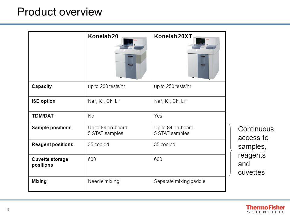 3 Product overview Konelab 20Konelab 20XT Capacityup to 200 tests/hrup to 250 tests/hr ISE optionNa +, K +, Cl -, Li + TDM/DATNoYes Sample positionsUp