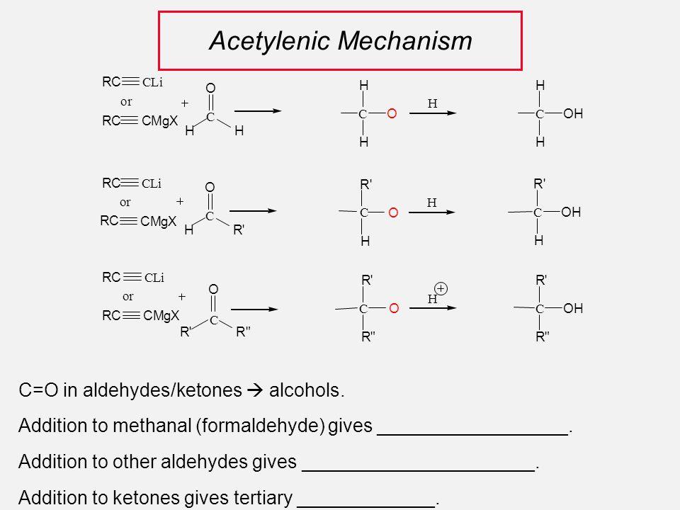 Acetylenic Mechanism CLi RC CMgXRC C HH O C O R' H H C O H H H C O R' R