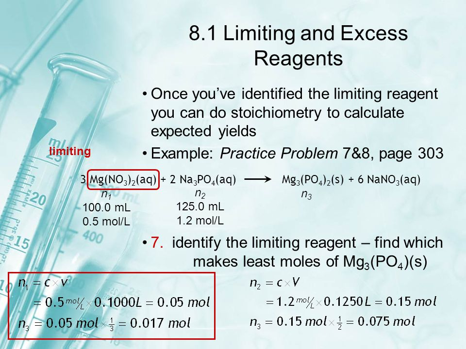 8.1 Limiting and Excess Reagents 8.