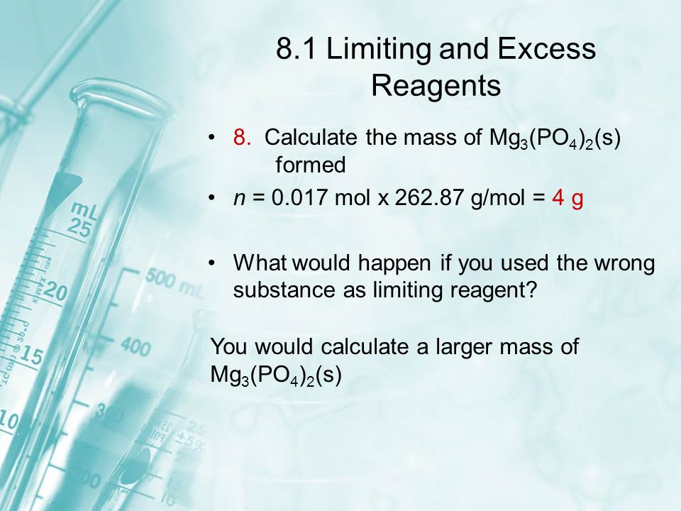 8.1 Limiting and Excess Reagents 8. Calculate the mass of Mg 3 (PO 4 ) 2 (s) formed n = 0.017 mol x 262.87 g/mol = 4 g What would happen if you used t