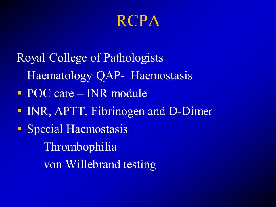 RCPA Royal College of Pathologists Haematology QAP- Haemostasis  POC care – INR module  INR, APTT, Fibrinogen and D-Dimer  Special Haemostasis Thrombophilia von Willebrand testing