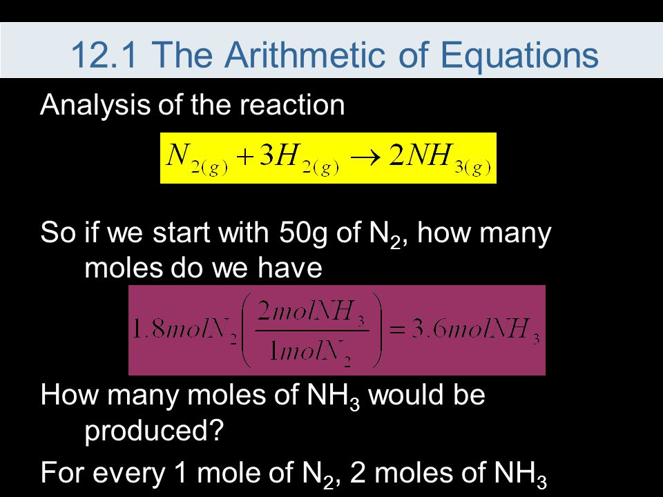Analysis of the reaction So if we start with 50g of N 2, how many moles do we have How many moles of NH 3 would be produced? For every 1 mole of N 2,