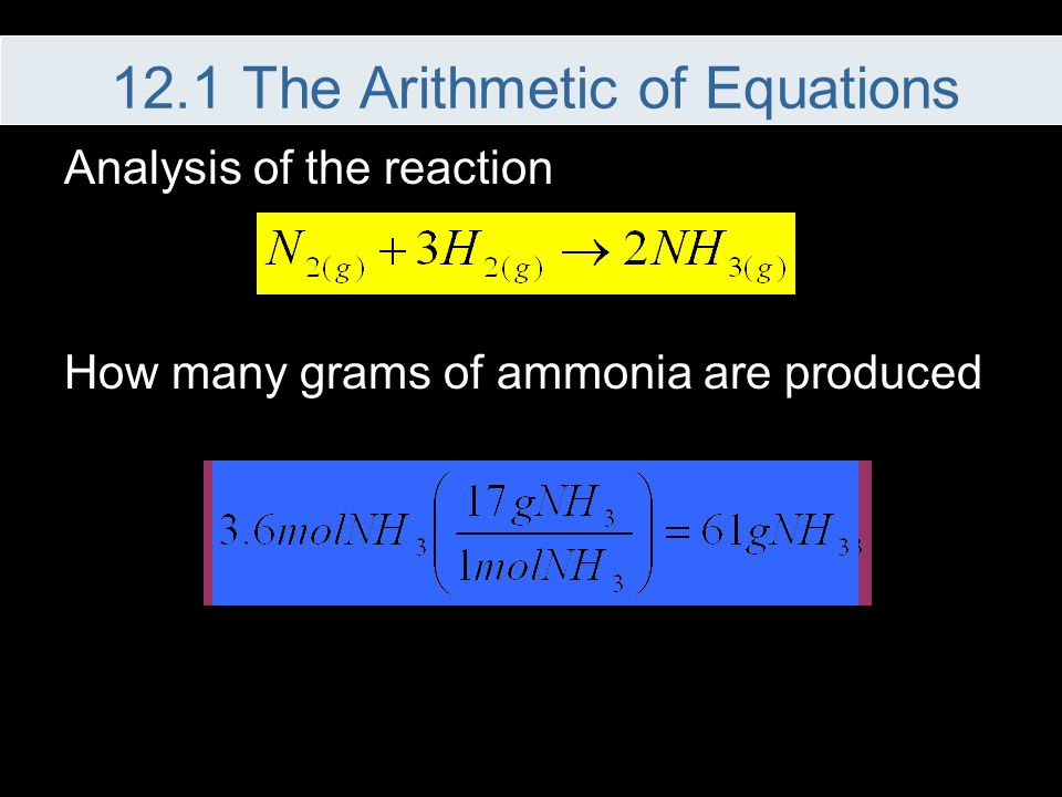 Analysis of the reaction How many grams of ammonia are produced 12.1 The Arithmetic of Equations