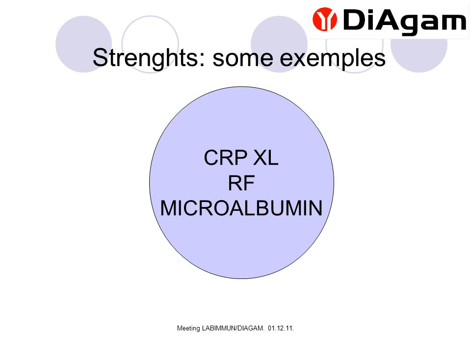 Meeting LABIMMUN/DIAGAM. 01.12.11. Strenghts: some exemples CRP XL RF MICROALBUMIN