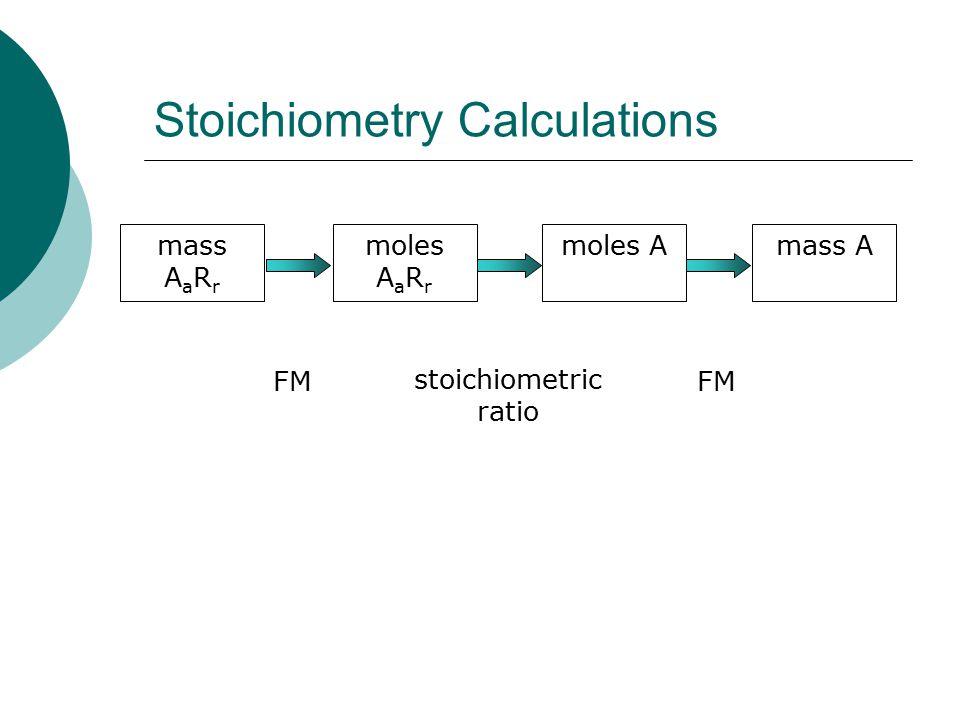 Stoichiometry Calculations mass A a R r moles A a R r FM moles A stoichiometric ratio mass A FM