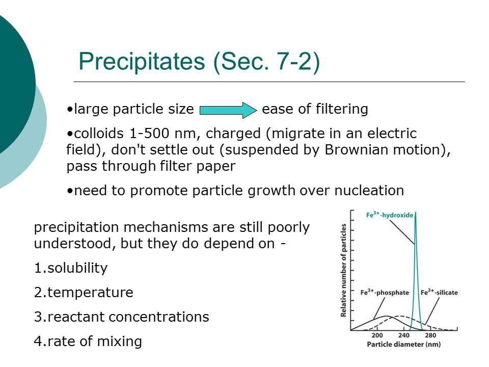 Precipitates (Sec. 7-2) large particle sizeease of filtering colloids 1-500 nm, charged (migrate in an electric field), don't settle out (suspended by