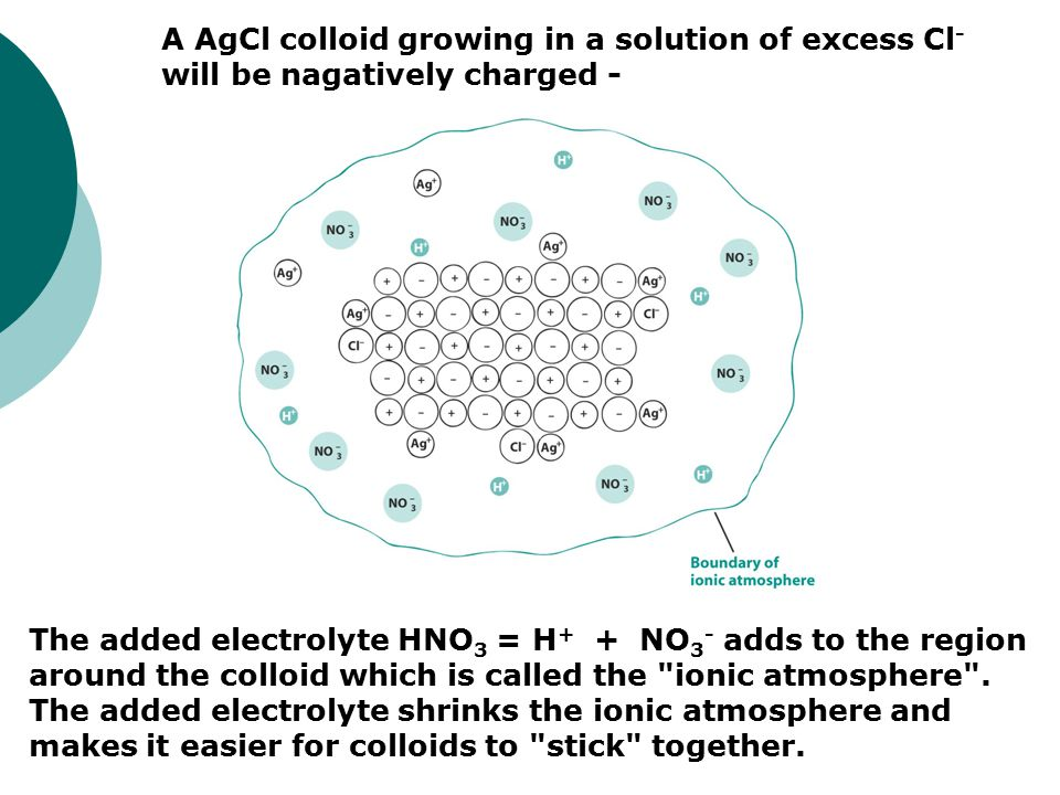 A AgCl colloid growing in a solution of excess Cl - will be nagatively charged - The added electrolyte HNO 3 = H + + NO 3 - adds to the region around