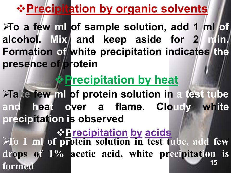  Precipitation by organic solvents  To a few ml of sample solution, add 1 ml of alcohol. Mix and keep aside for 2 min. Formation of white precipitat