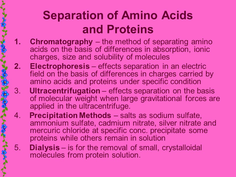 Separation of Amino Acids and Proteins 1.Chromatography – the method of separating amino acids on the basis of differences in absorption, ionic charge