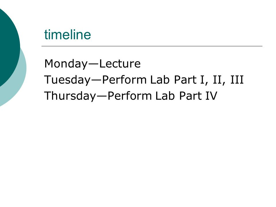 timeline Monday—Lecture Tuesday—Perform Lab Part I, II, III Thursday—Perform Lab Part IV