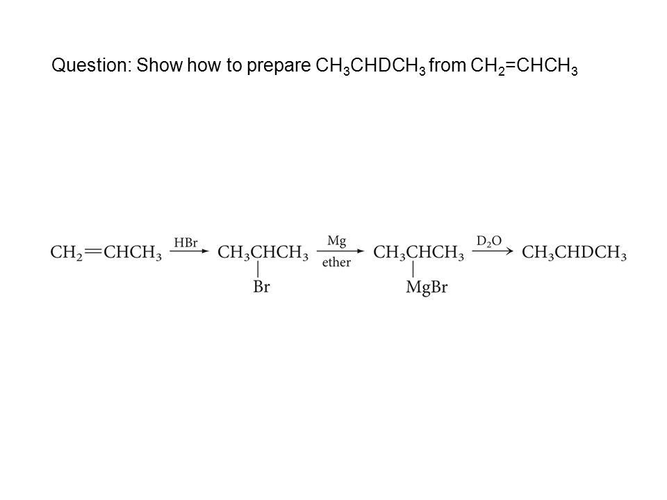Question: Show how to prepare CH 3 CHDCH 3 from CH 2 =CHCH 3