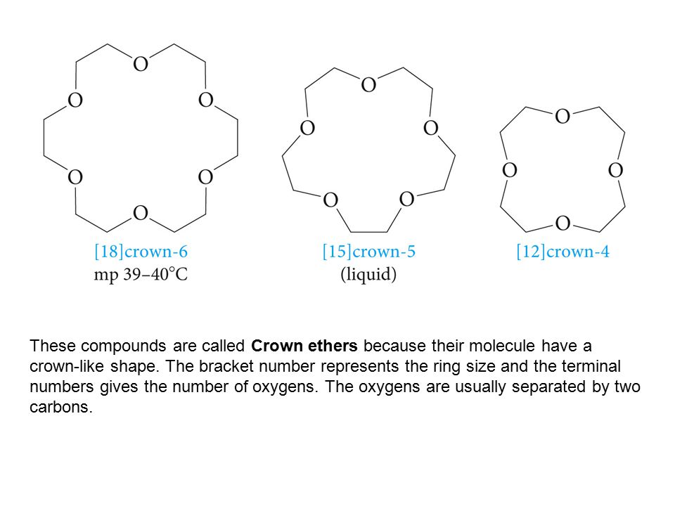 These compounds are called Crown ethers because their molecule have a crown-like shape. The bracket number represents the ring size and the terminal n