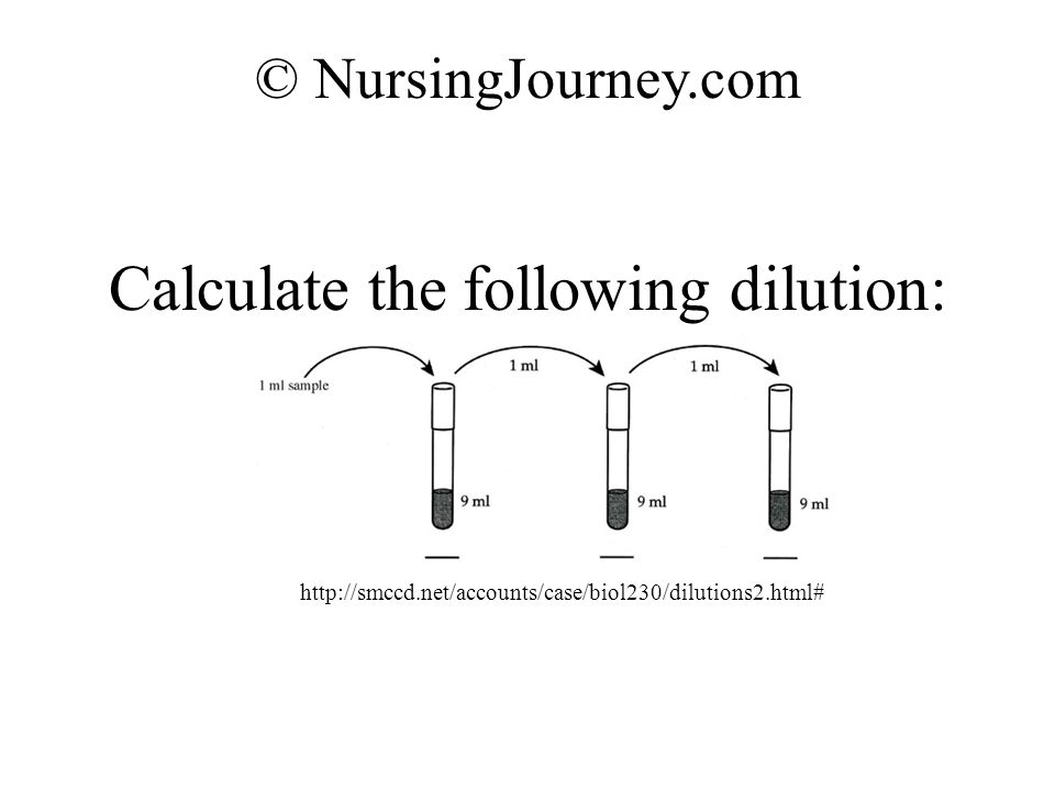Calculate the following dilution: © NursingJourney.com http://smccd.net/accounts/case/biol230/dilutions2.html#