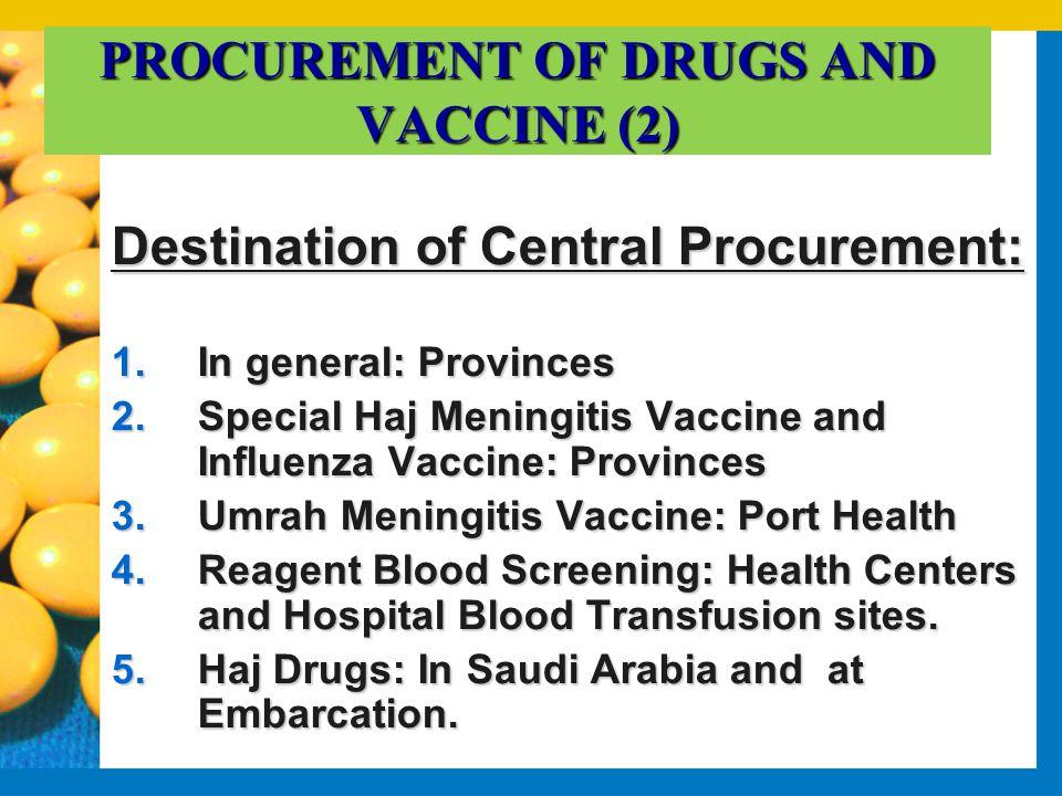 PROCUREMENT OF DRUGS AND VACCINE (2) Destination of Central Procurement: 1.In general: Provinces 2.Special Haj Meningitis Vaccine and Influenza Vaccin