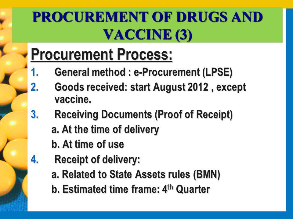 PROCUREMENT OF DRUGS AND VACCINE (3) Procurement Process: 1.General method : e-Procurement (LPSE) 2.Goods received: start August 2012, except vaccine.